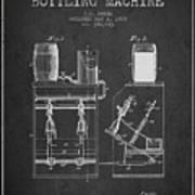1888 Beer Bottling Machine Patent - Charcoal Art Print