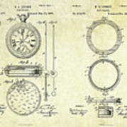 1889 Stop Watch Patent Art Sheets 1-2 Art Print