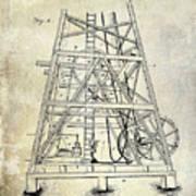 1893 Oil Well Rig Patent Art Print