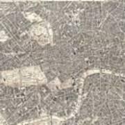 1899 Bacon Pocket Plan Or Map Of London  Art Print