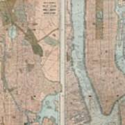 1899 Home Life Map Of New York City  Manhattan And The Bronx  Art Print