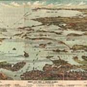 1899 View Map Of Boston Harbor From Boston To Cape Cod And Provincetown  Art Print