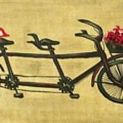 18x36 Premium Gallery Tandem Bicycle Painting With Red Birds Red Flowers Art Print