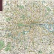 1900 Bacon Pocket Map Of London England  Art Print