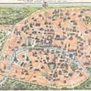 1900 Garnier Pocket Map Or Plan Of Paris France Eiffel Tower  Art Print