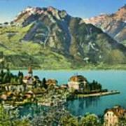 1900s Switzerland Swiss Alps Spiez Mit Ralligstoecke Art Print