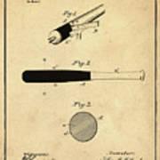 1902 Baseball Bat Patent In Sepia Art Print