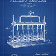 1903 Bottle Filling Machine Patent - Blueprint Art Print