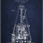1903 Electric Metronome Patent - Navy Blue Art Print