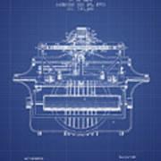 1903 Type Writing Machine Patent - Blueprint Art Print