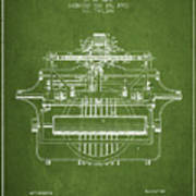 1903 Type Writing Machine Patent - Green Art Print