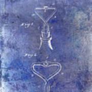 1909 Cork Extractor Patent Blue Art Print