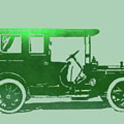 1909 Packard Limousine Green Pop Art Print