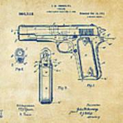 1911 Colt 45 Browning Firearm Patent Artwork Vintage Art Print
