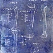 1911 Mechanical Skeleton Patent 1 Blue Art Print