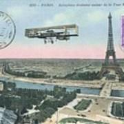 1911 Paris Eiffel Tower Colorized Postcard Art Print
