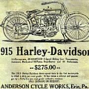 1915 Harley Davidson Advertisement Art Print