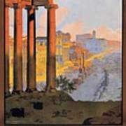 1920 Paris To Rome Train Travel Poster Art Print