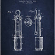 1920 Tuning Fork Patent - Navy Blue Art Print
