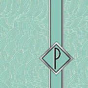 1920s Blue Deco Jazz Swing Monogram ...letter P Art Print