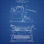 1923 Typewriter Screen Patent - Blueprint Art Print