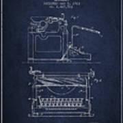 1923 Typewriter Screen Patent - Navy Blue Art Print