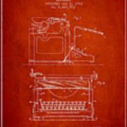 1923 Typewriter Screen Patent - Red Art Print