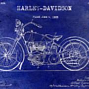 1928 Harley Davidson Patent Drawing Blue Art Print