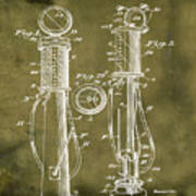 1930 Gas Pump Patent In Grunge Art Print