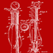 1930 Gas Pump Patent In Red Art Print
