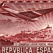 1931 Airplane Over Madrid Spain Stamp Art Print