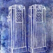 1936 Gas Pump Patent Blue Art Print