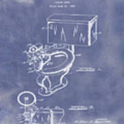 1936 Toilet Bowl Patent Blue Grunge Art Print
