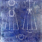1940 Waitress Uniform Patent Blue Art Print