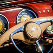 1941 Lincoln Continental Cabriolet V12 Steering Wheel Art Print by Jill Reger