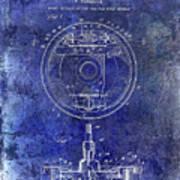 1941 Porsche Brake Mechanism Patent Blue  Art Print