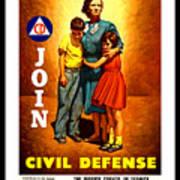 1942 Civil Defense Poster By Charles Coiner Art Print