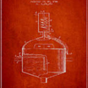 1944 Art Of Brewing Beer Patent - Red Art Print