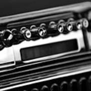 1947 Cadillac Radio Black And White Art Print