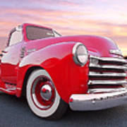 1950 Chevy Pick Up At Sunset Art Print