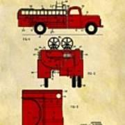 1950 Red Firetruck Patent Art Print