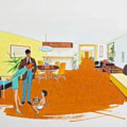 1950's Motel Room Retro Artwork Art Print
