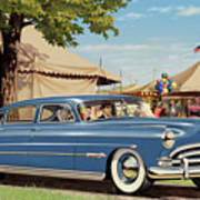 1951 Hudson Hornet Fair Americana Antique Car Auto Nostalgic Rural Country Scene Landscape Painting Art Print