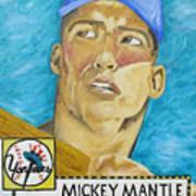 1952 Mickey Mantle Rookie Card Original Painting Print by Joseph Palotas