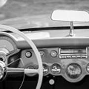 1954 Chevrolet Corvette Steering Wheel -368bw Art Print