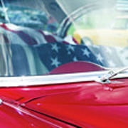 1955 Chevy Bel Air With Flag Art Print