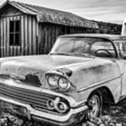 1958 Chevy Del Ray In Black And White Art Print