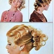 1960 70 Stylish Female Hair Styles Golden Blond Art Print