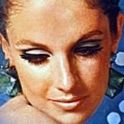 1960 70 Stylish Lady In Blue Art Print