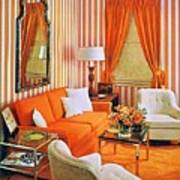 1960 70 Stylish Living Room Advertisement Orange And Stripes Groovy Baby Art Print